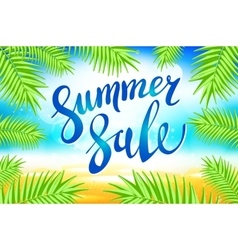 Summer sale lettering on blue background vector