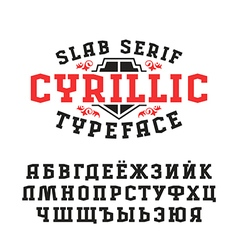 Stock set of slab serif cyrillic font vector