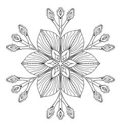 Snow flake in zentangle doodle style black mandala vector