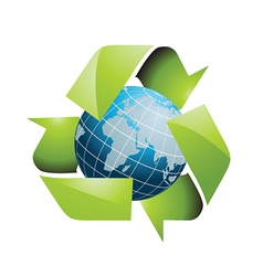 World with recycling symbol vector image