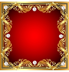 Red background with pearls gold ornaments vector