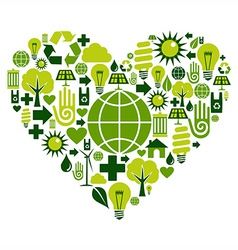 Green heart environmental icons vector