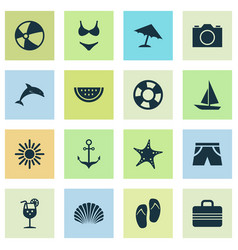 Hot icons set collection of bead melon ship and vector