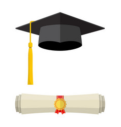 graduation cap and rolled diploma scroll vector image
