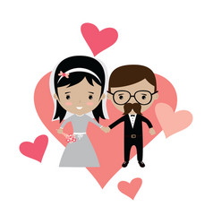 Adorable groom and bride lovely marriage cartoon vector
