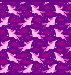 Unicorns pink and violet seamless pattern vector