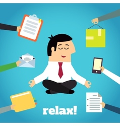 Businessman yoga relaxing vector