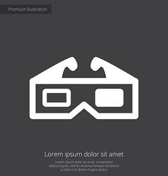 3d movie premium icon white on dark background vector