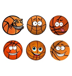 Cartoon happy traditional shaped basketball balls vector image
