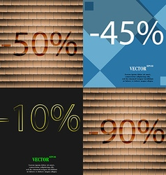 45 10 90 icon set of percent discount on abstract vector