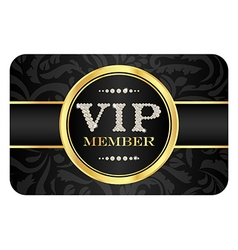 Vip member badge on black card with floral pattern vector