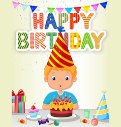 Little boy blowing birthday candle vector