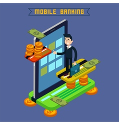 Mobile banking isometric concept online payment vector