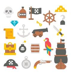 Flat design pirate items vector