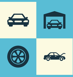 Automobile icons set collection of wheel fixing vector