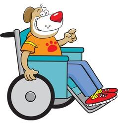 Cartoon dog in a wheelchair vector