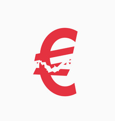 Crashed euro sign financial crisis vector