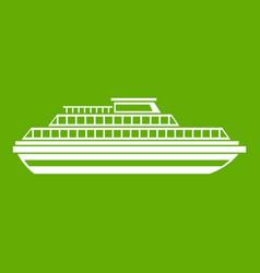 Cruise ship icon green vector