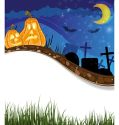 Funny jack o lanterns on a cemetery vector