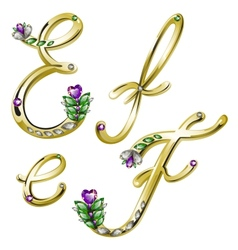 Gold alphabet with diamonds and gems letters EF vector image