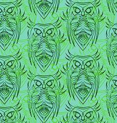 Green owls seamless pattern vector image vector image