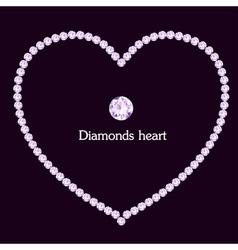 Heart frame made of diamonds vector