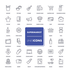 line icons set supermarket vector image