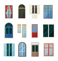 Muntin bars window panels icons set vector