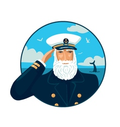 Old bearded captain with cap vector image