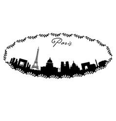 paris skyline in hand drawn frame vector image