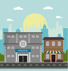 police store shop building board natural city vector image