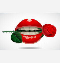 red lips with a rose vector image vector image