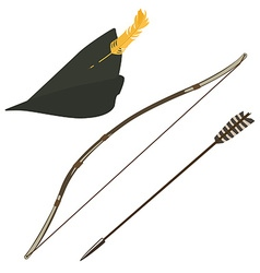 Robin hood hat bow and arrow vector