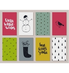 set of colorful Christmas New year cards vector image