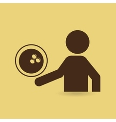 Silhouette man point bowling ball vector