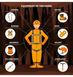 Speleologists caving equipment conceptual flat vector