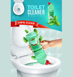 Toilet cleaner ad background vector