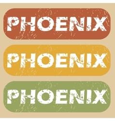 Vintage phoenix stamp set vector