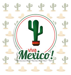Viva mexico invitation party cactus background vector