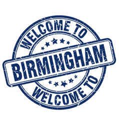 Welcome to birmingham blue round vintage stamp vector