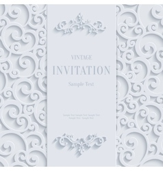 White 3d vintage invitation card with swirl vector