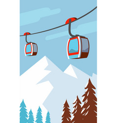 Winter mountains cable car ski lift vector