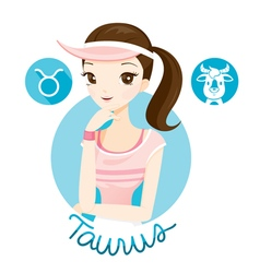 Woman With Taurus Zodiac Sign vector image