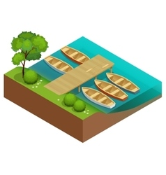 Wooden rowing boats on a wooden pier Wooden boat vector image