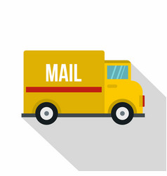 yellow mail truck icon flat style vector image