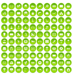 100 playground icons set green circle vector