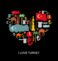 I love turkey sign heart of traditional turkish vector