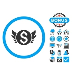 Angel investment flat icon with bonus vector