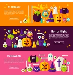 Happy halloween web horizontal banners vector