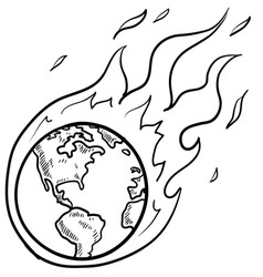 Doodle globe warming fire vector